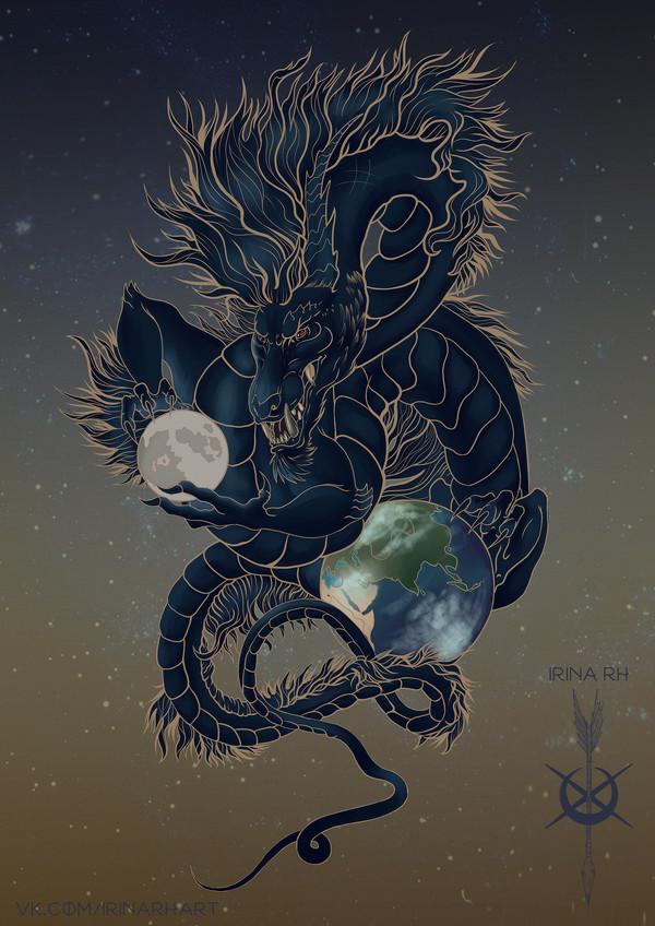 Восточный дракон Дракон, Китайский дракон, Земля, Луна, Космос, Звёзды, SAI, Рисунок