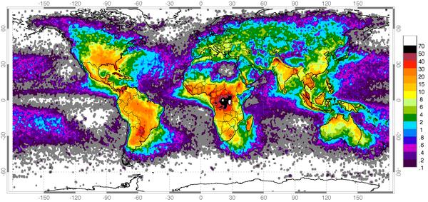 Глобальная частота ударов молний Молния, Карты, Познавательно, Наука