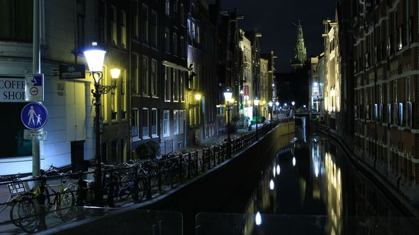 Ночной  Амстердам.