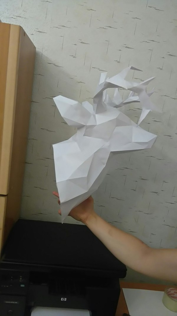 Голова оленя Papercraft, Олень, Развертка, Первое пятничное, Длиннопост