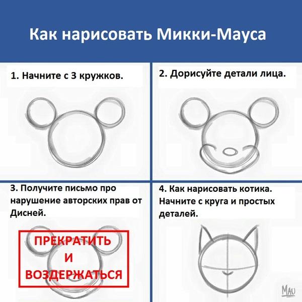 Как нарисовать Микки-Мауса.