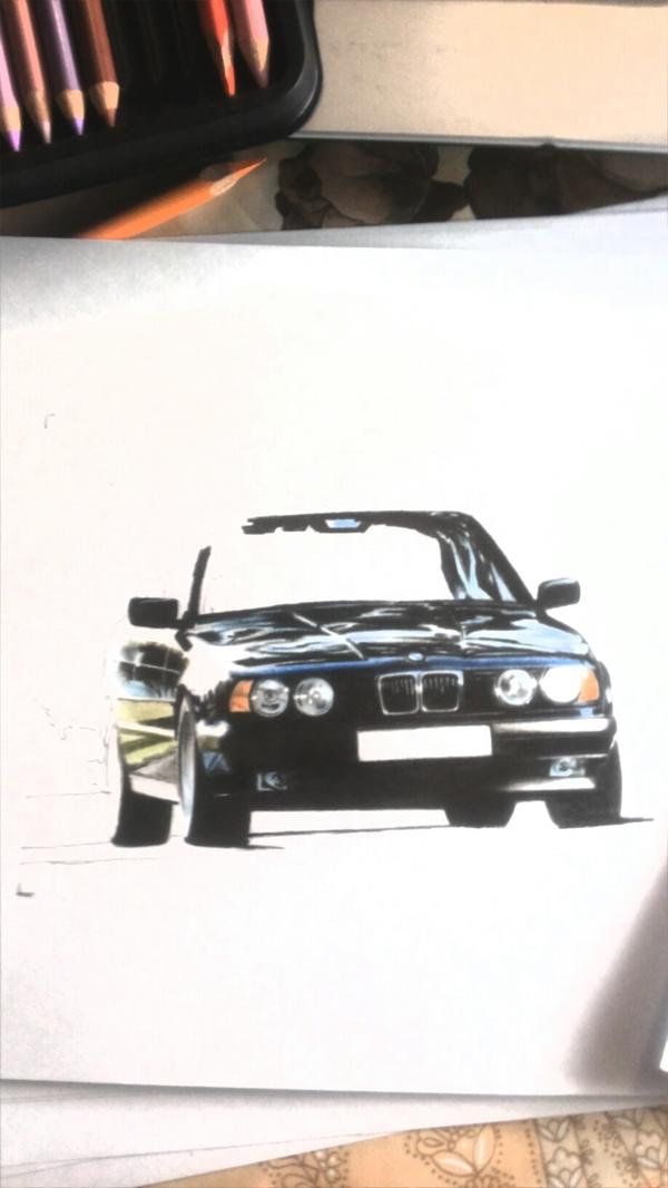 Е34 бэха, цветные карандаши Рисунок, Графика, Машина, Рисунок карандашом, Bmw, Bmw e34
