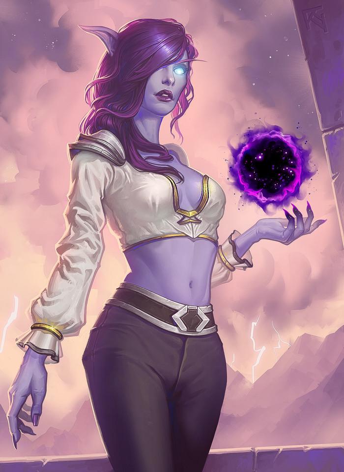 Void Elf. World of Warcraft, Эльфийка, Арт