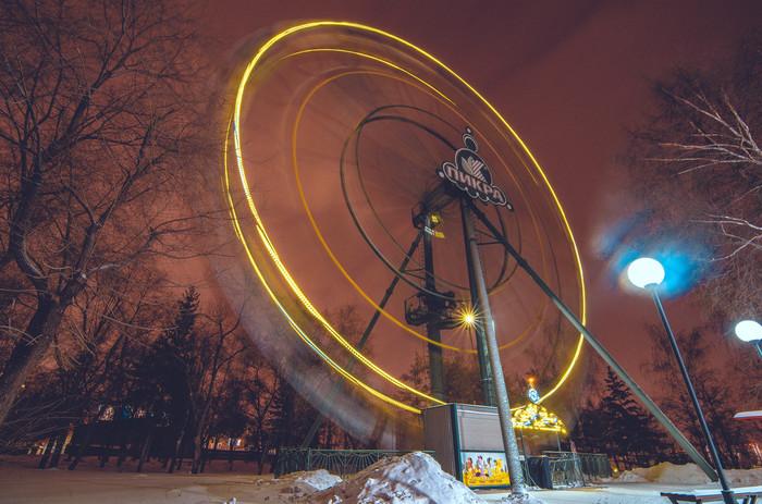 Колесо обозрения Nikon, Tokina, Nikon d5100, Длинная выдержка, Колесо обозрения, Красноярск, Центральный парк