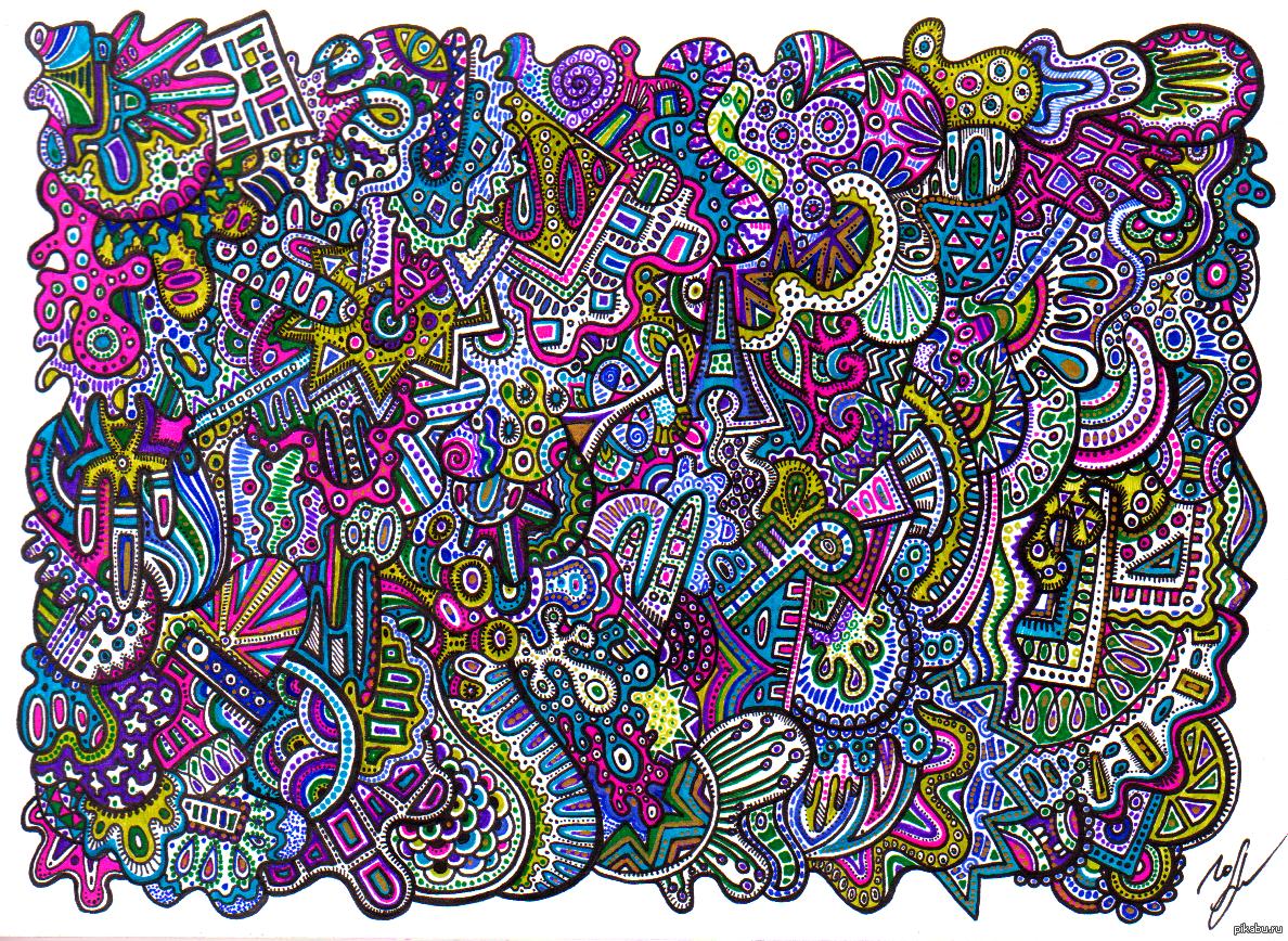 Днем, прикольные рисунки цветными ручками