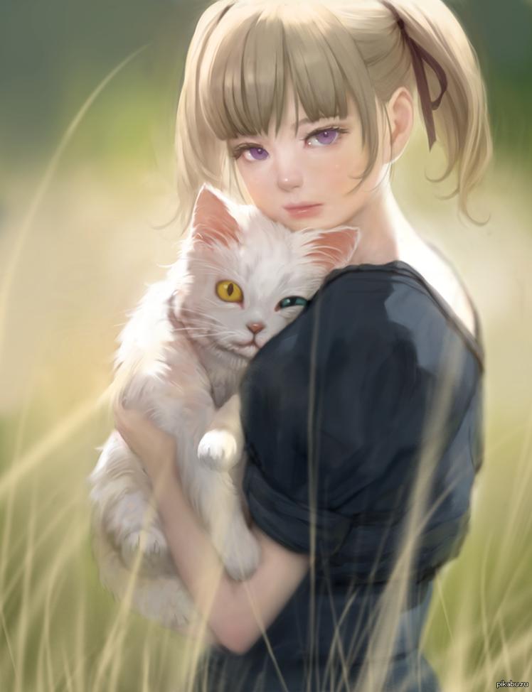 Девушка и кот нарисованные