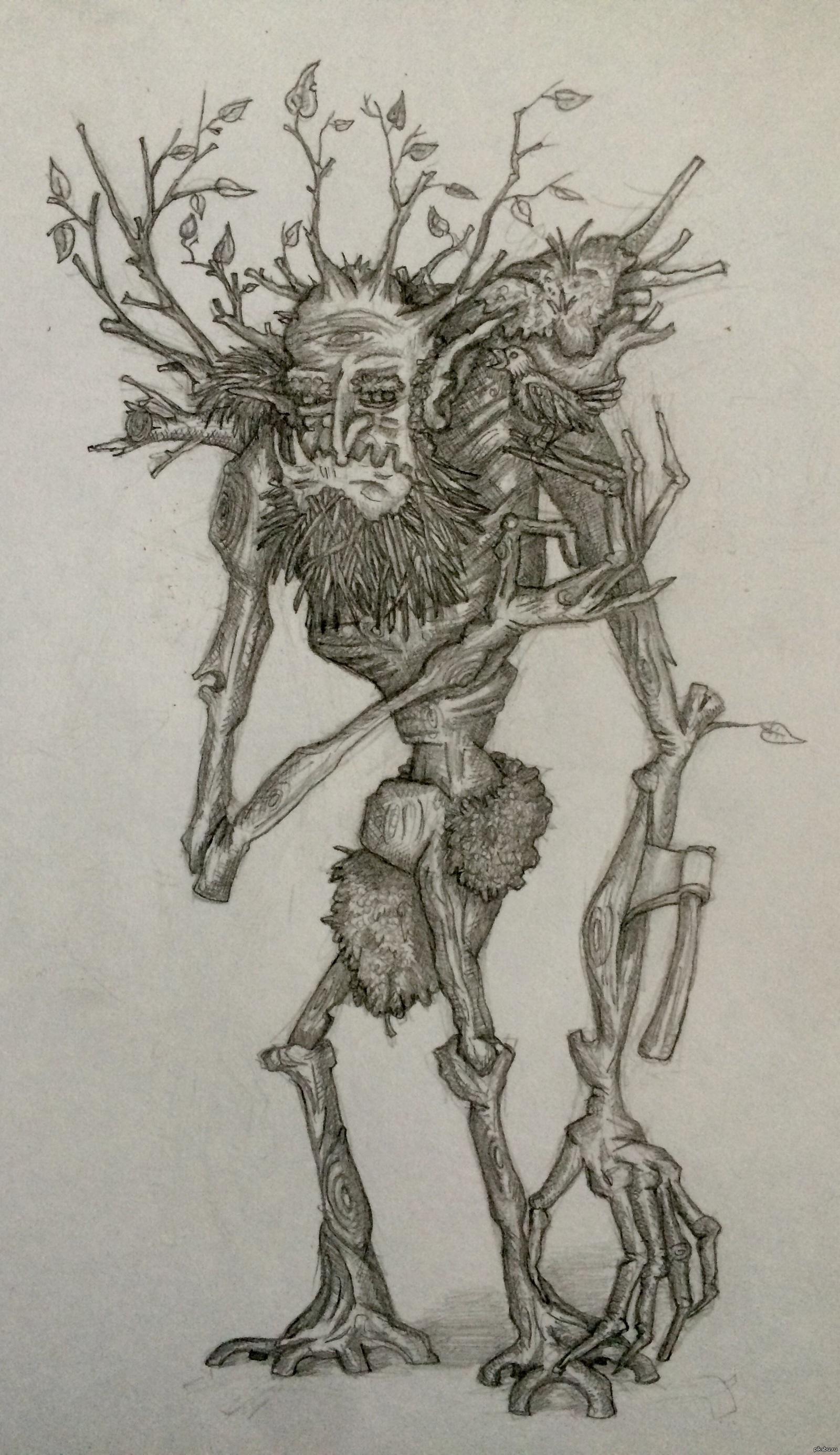 Леший рисунок карандашом для детей