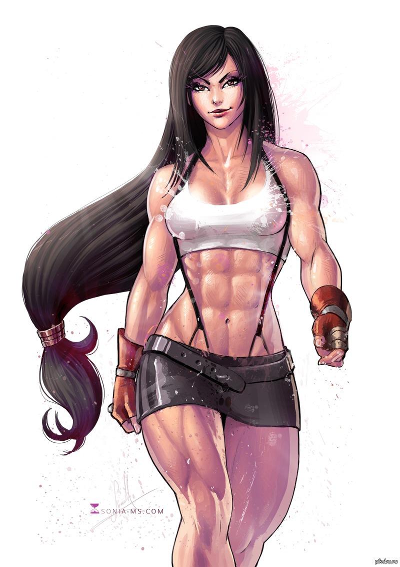 мускулистые девушки рисунок