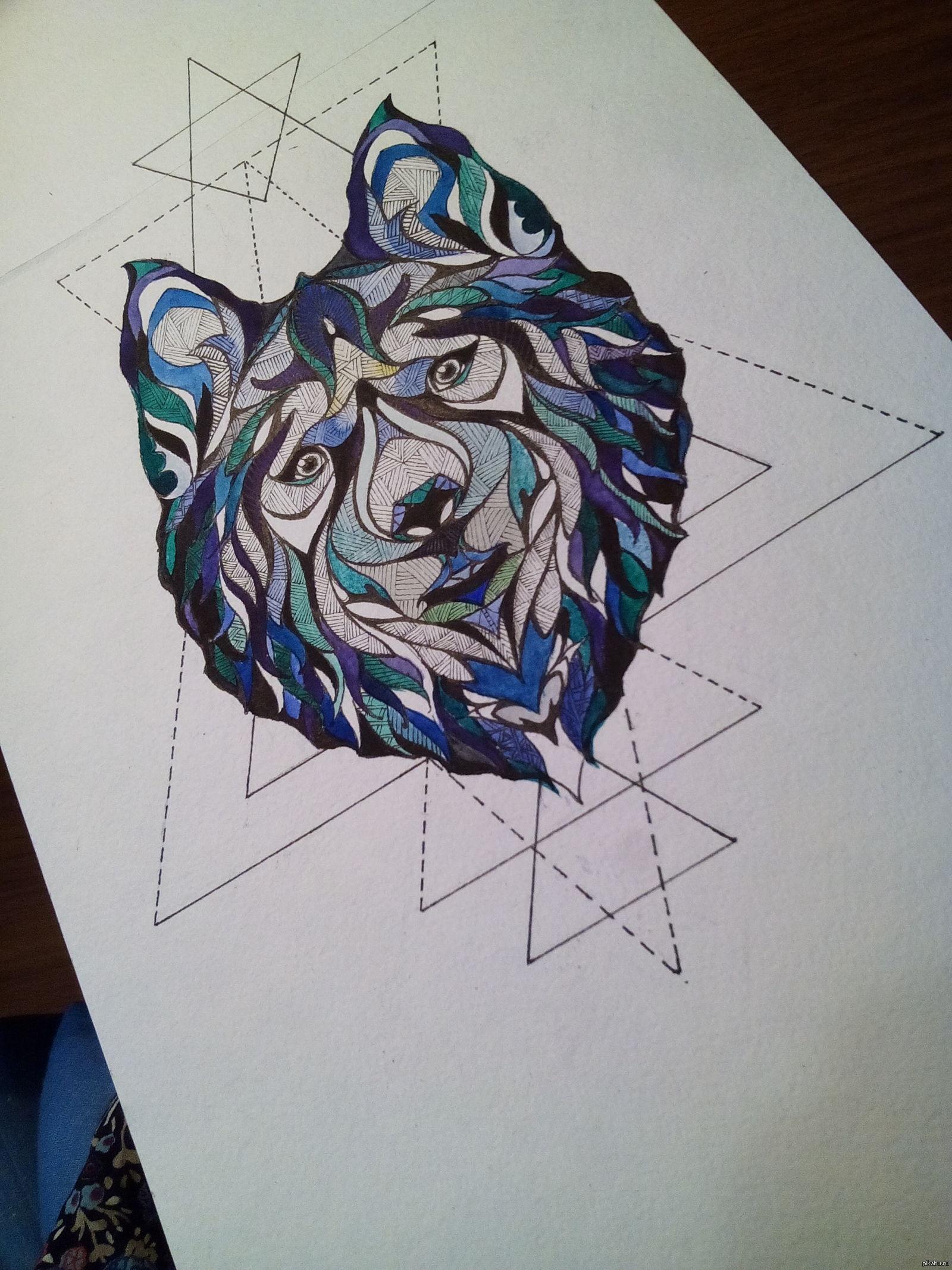 Картинки Геометрическое тату эскиз 124