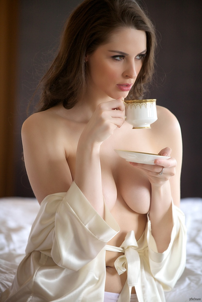 Pussy candid naked with a cup of coffee