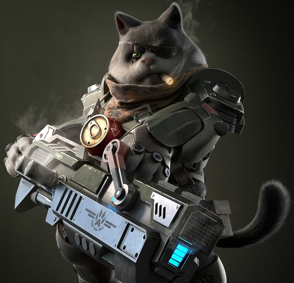 Кот с оружием фото