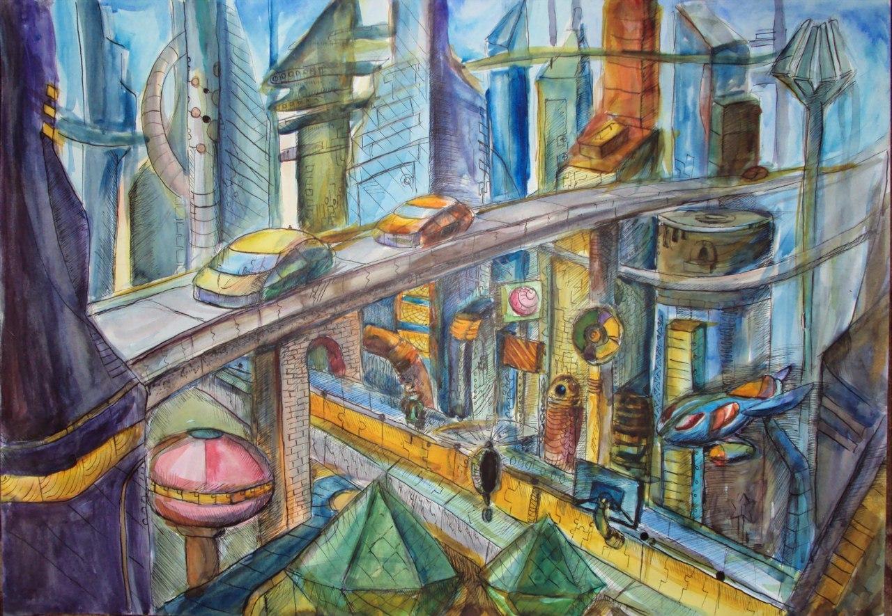 город будущего нарисованные картинки