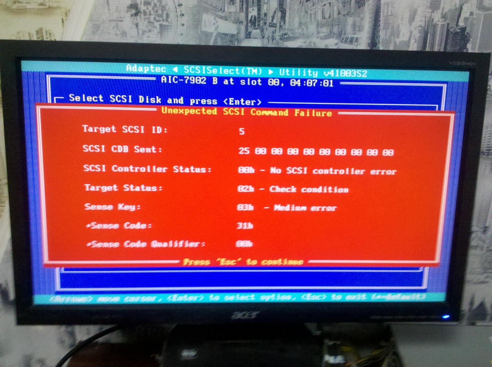 SCSI HDD (ULTRA320) в Adaptec HostRaid Utility видится но не