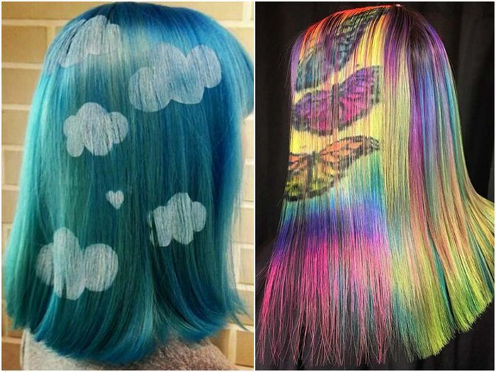 Узоры краской на волосах
